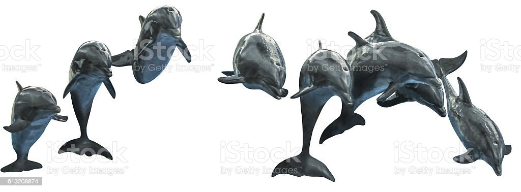 Dolphins jumping together stock photo
