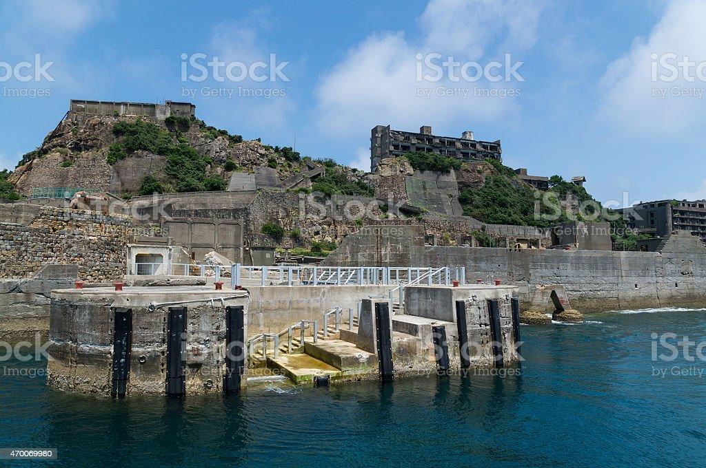 Dolphon Pier of Gunkanjima (Hashima) stock photo