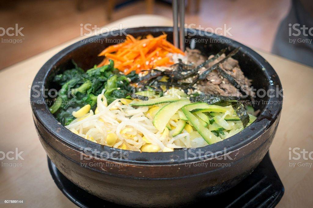 Dolsot Bibimbap Korean bowl, Rice Topped With Seasoned Vegetables stock photo
