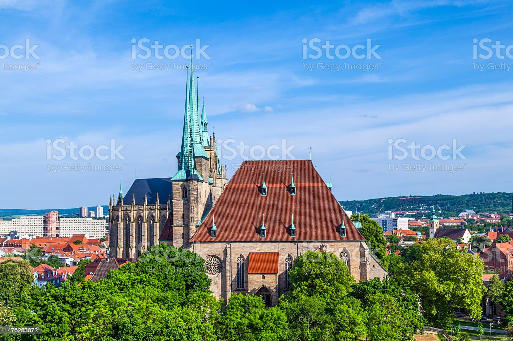 Dom hill of Erfurt Germany stock photo