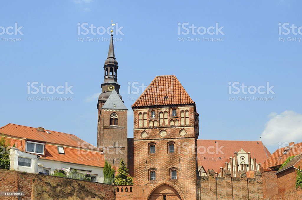 Dom in Tangermünde und Stadttor (Germany) stock photo