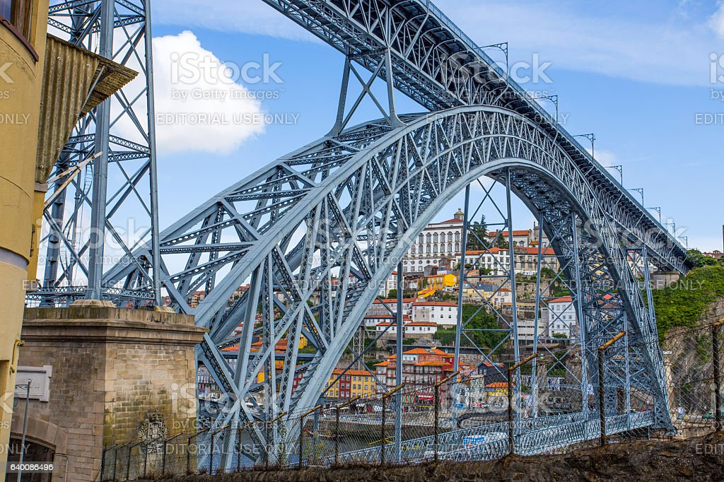 Dom Luis I Bridge in old port of Porto, Portugal stock photo
