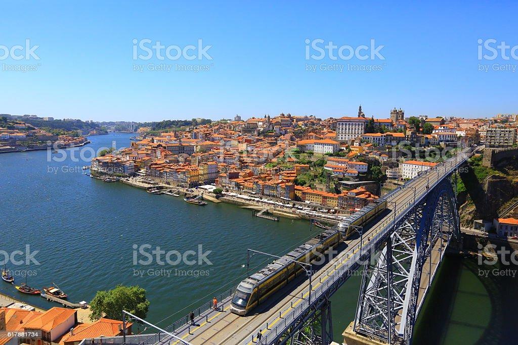 Dom Luis I Bridge with Metro / Porto, Portugal stock photo