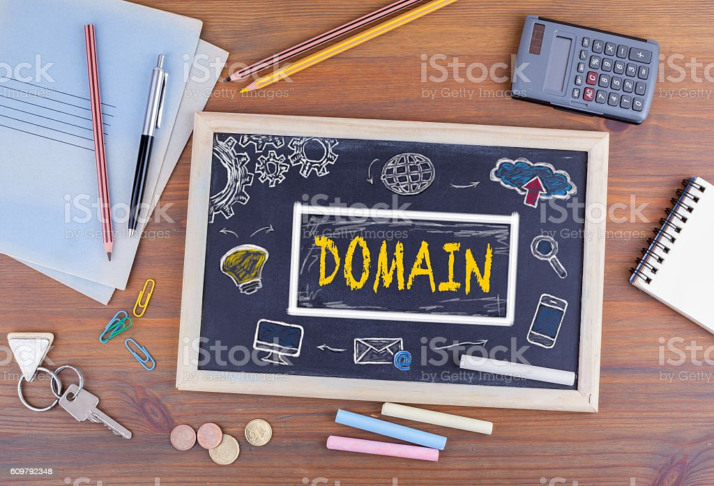 Domain Homepage HTML Web Design Concept stock photo