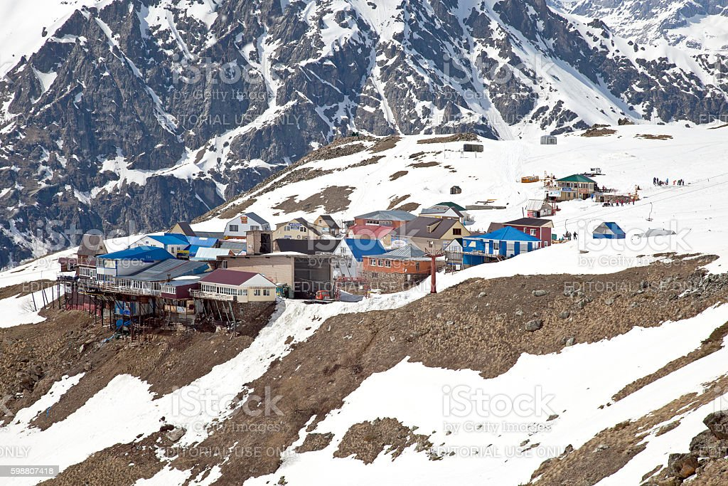 Dombay. The village is on the slope of Mount Mussa-Achitara stock photo