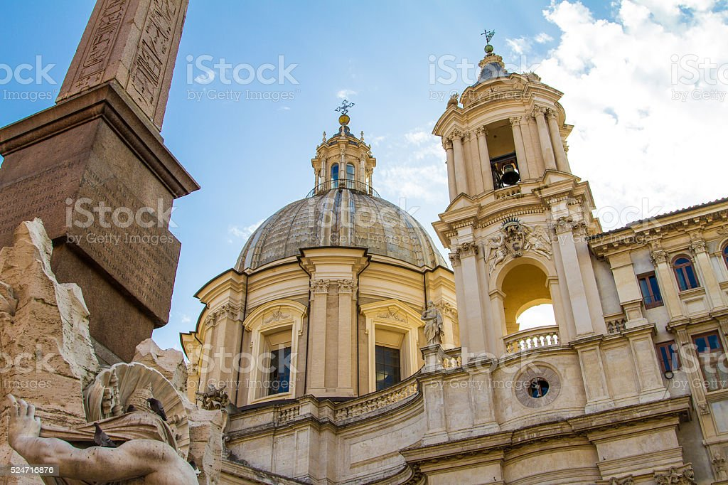 Dome and Facade of Sant Agnese in Agone, Rome stock photo