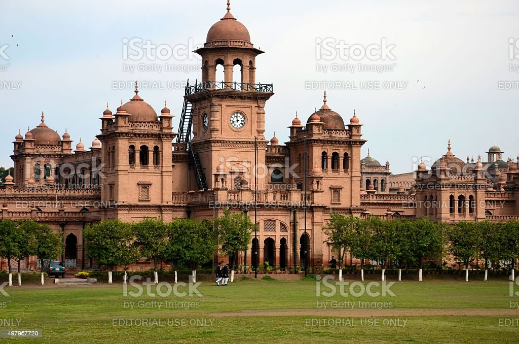 Dome and main building of Islamia College University Peshawar Pakistan stock photo