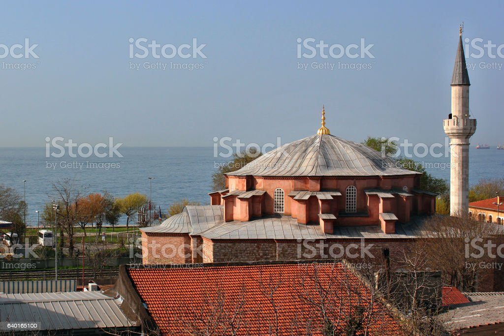 Dome and minaret of little Hagia Sophia mosque, Istanbul stock photo