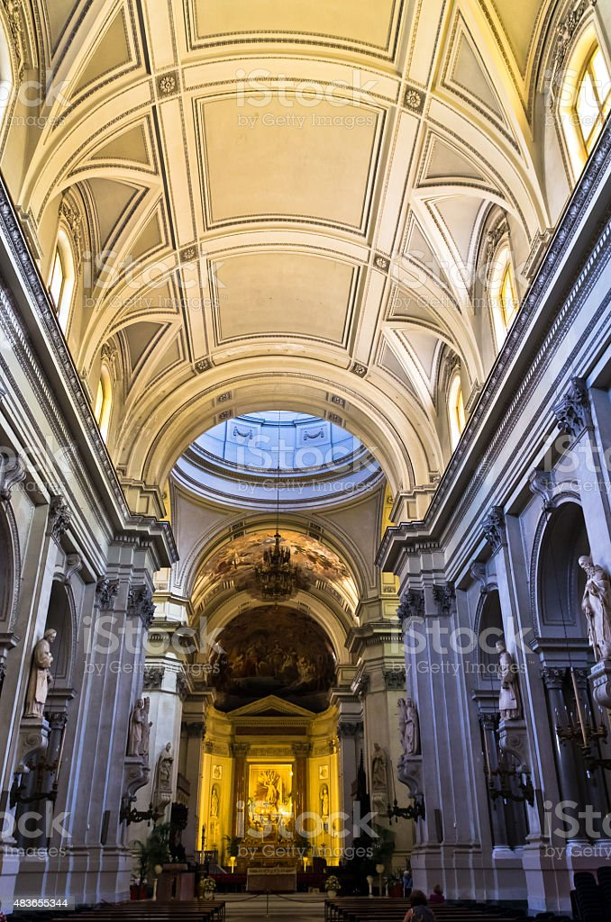 Dome and other architectural details in Palermo cathedral at Sicily stock photo