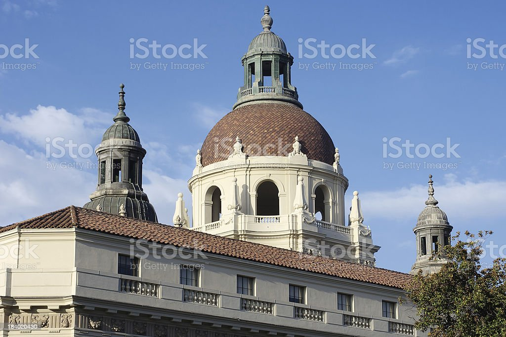 Dome and Towers of the Pasadena City Hall in California stock photo