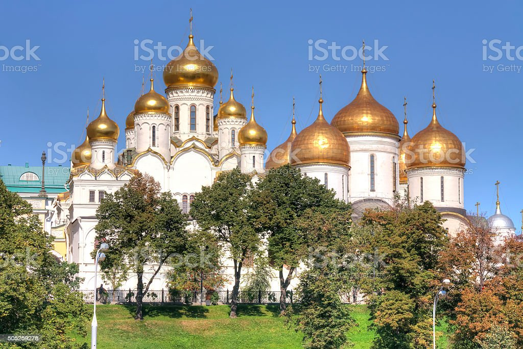 Dome complex of churches in the Kremlin. City Moscow stock photo