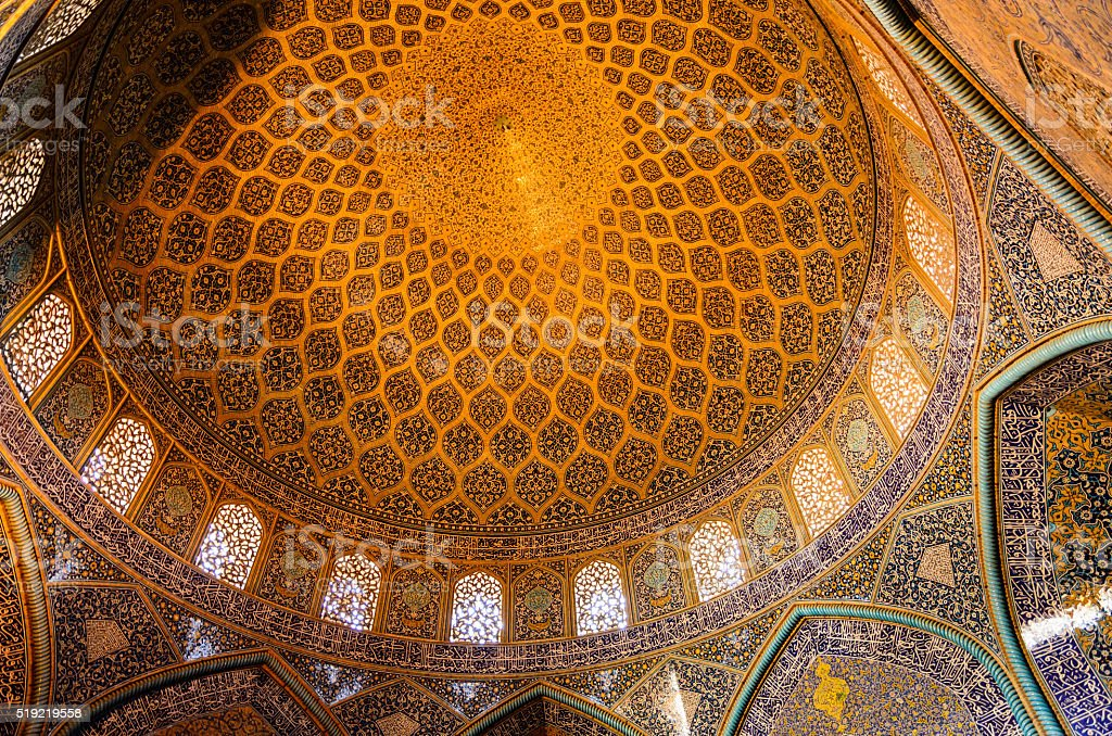 Dome decoration in Sheikh Lotfollah Mosque, Isfahan, Iran stock photo