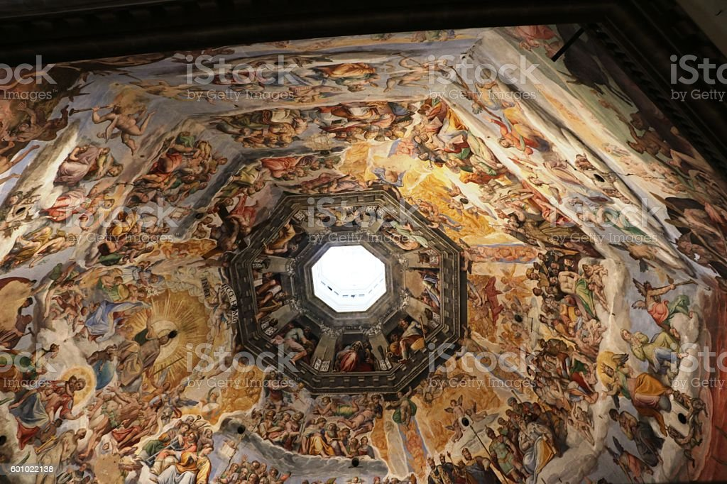 Dome in Cathedral Santa Maria del Fiore, Florence Italy stock photo