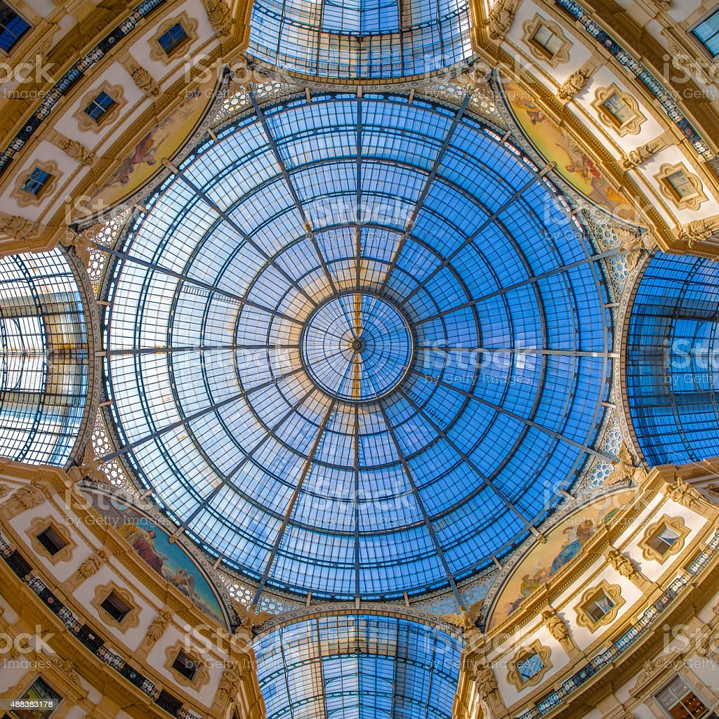 Dome in Galleria Vittorio Emanuele, Milan, Italy stock photo