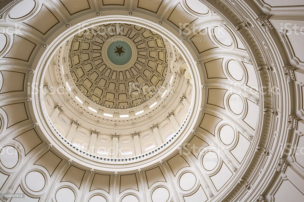 Dome inside Texas State Capitol in Austin stock photo