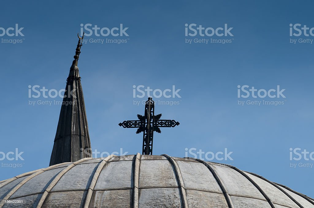Dome of a chapel and minaret, Istanbul, Turkey royalty-free stock photo