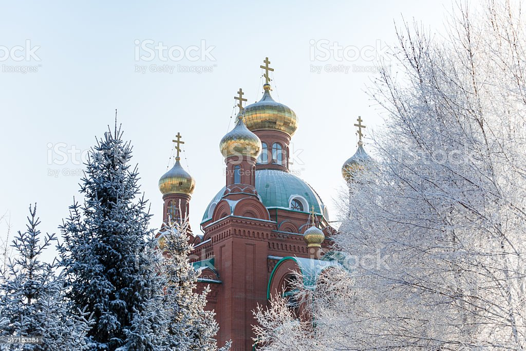 dome of an Orthodox Church in winter stock photo