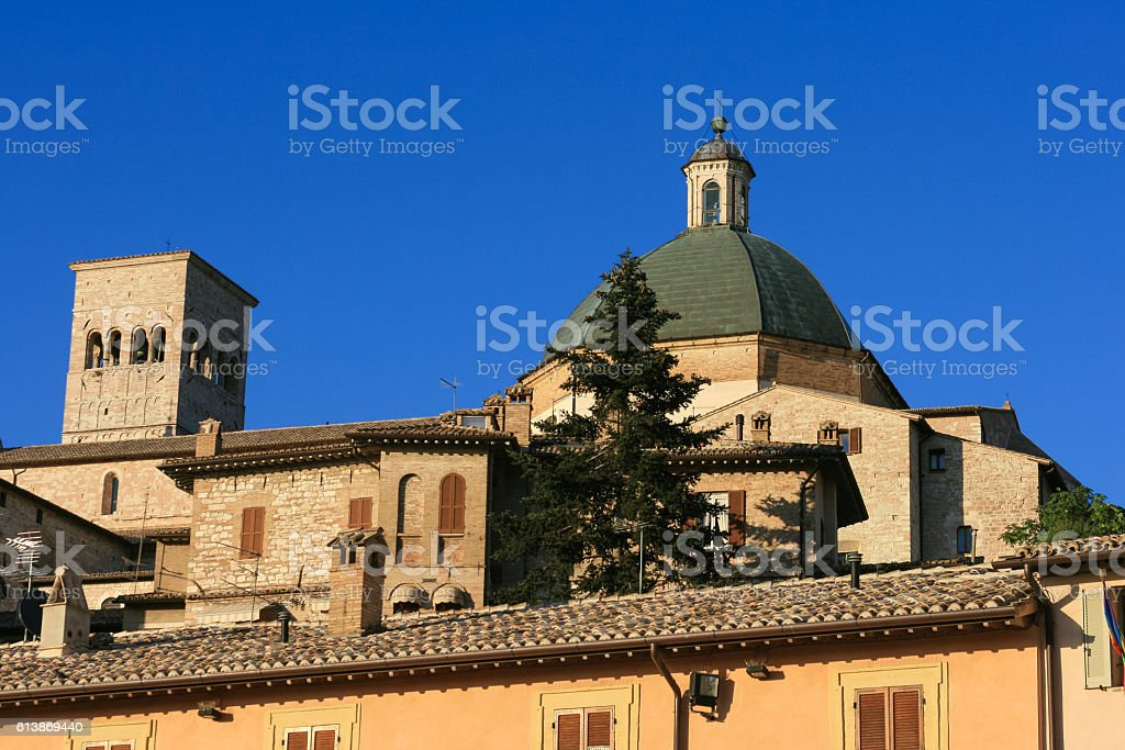 Dome of Chiesa Nuova Church and Blue Sky, Assisi, Italy. stock photo