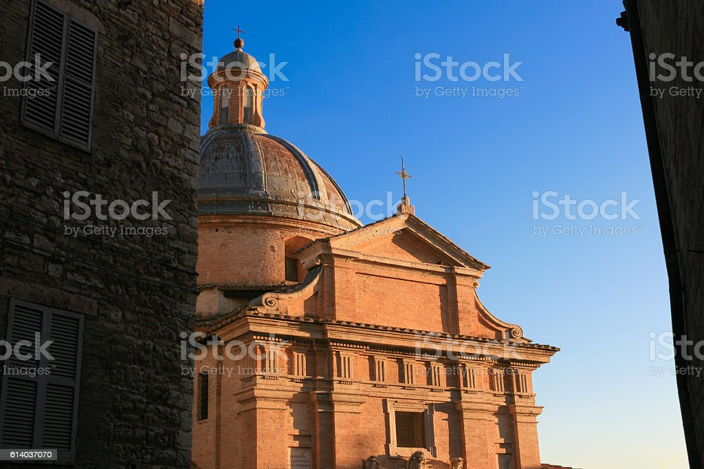 Dome of Chiesa Nuova Church at Sunset, Assisi, Italy. stock photo