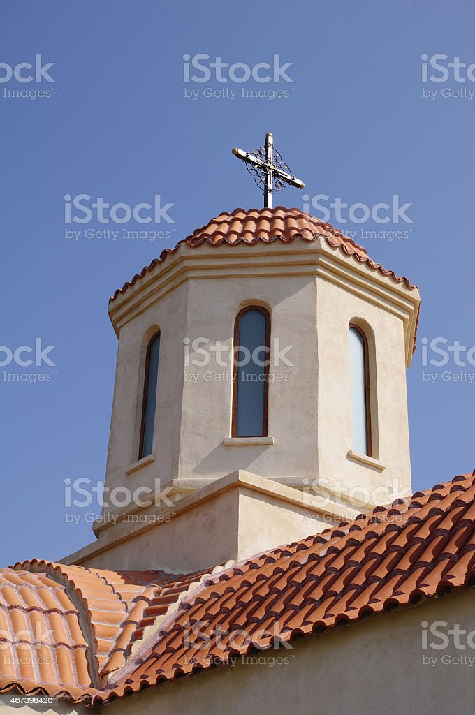 Dome of church in Orthodox Monastery Codru near Babadag, Romania stock photo