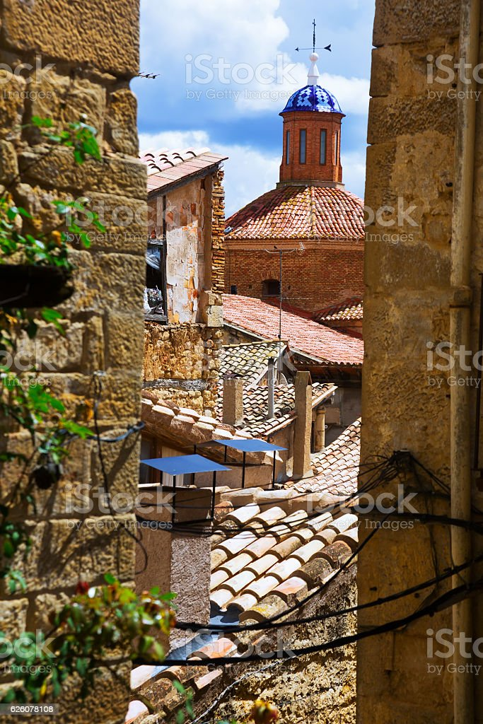 Dome of church of the Assumption.  Calaceite stock photo