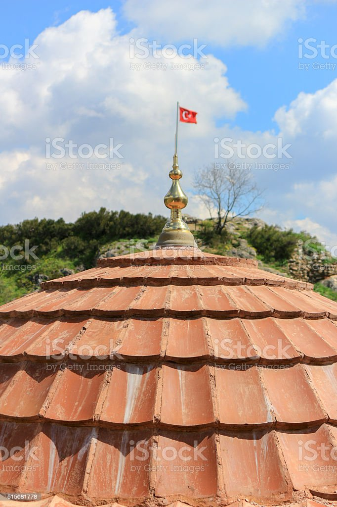 Dome of Ertugrul Gazi Tomb with Turkish flag stock photo