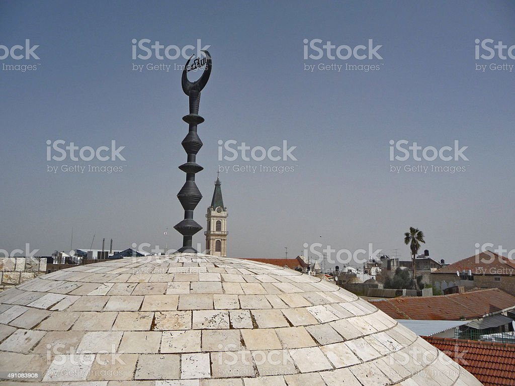Dome of Jerusalem Mosque with Islamic Symbol Hilal stock photo