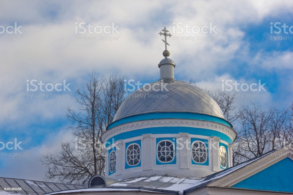 Dome of Orthodox church in Pskov, Russia stock photo