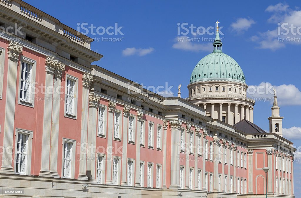 Dome of Potsdam and rebuilded city castle in Germany royalty-free stock photo