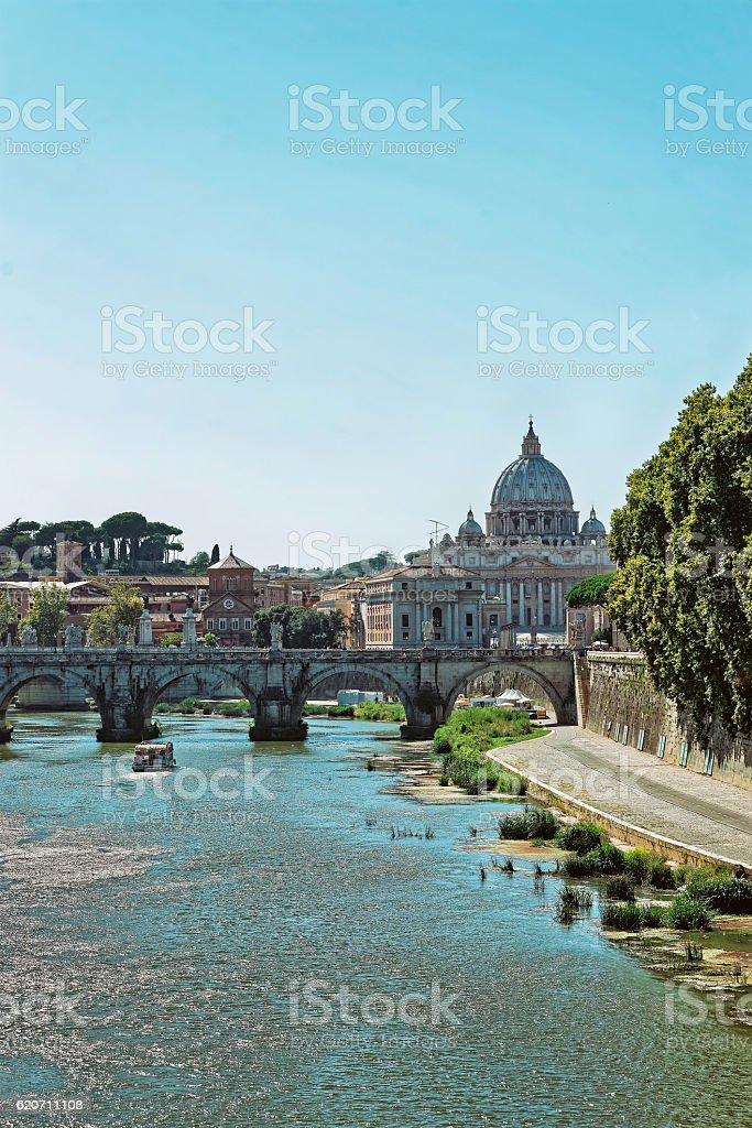 Dome of Saint Peter Basilica and Ponte Sant Angelo stock photo