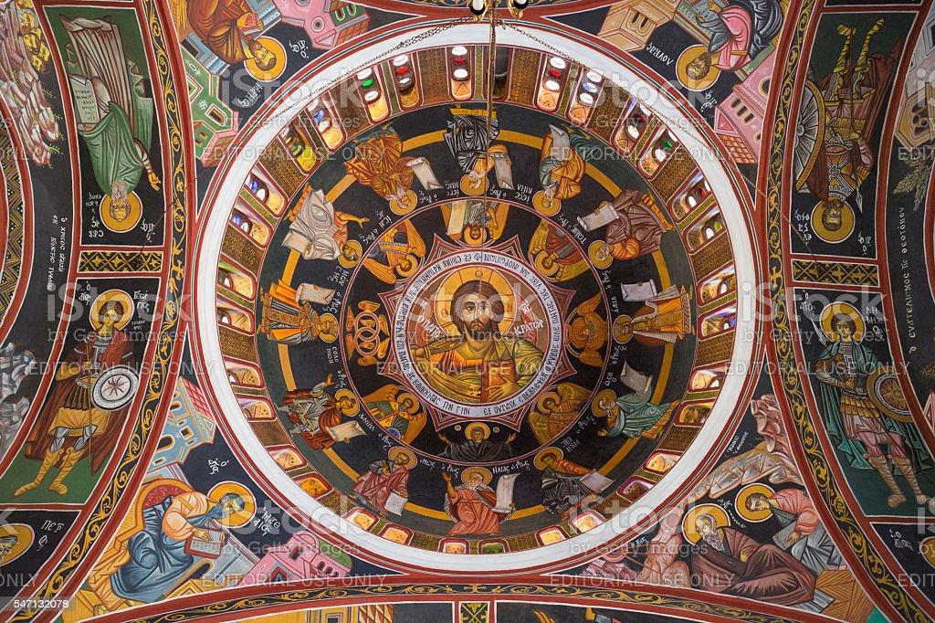 Dome of Siana Church, Rhodes, Dodecanese, Greece stock photo