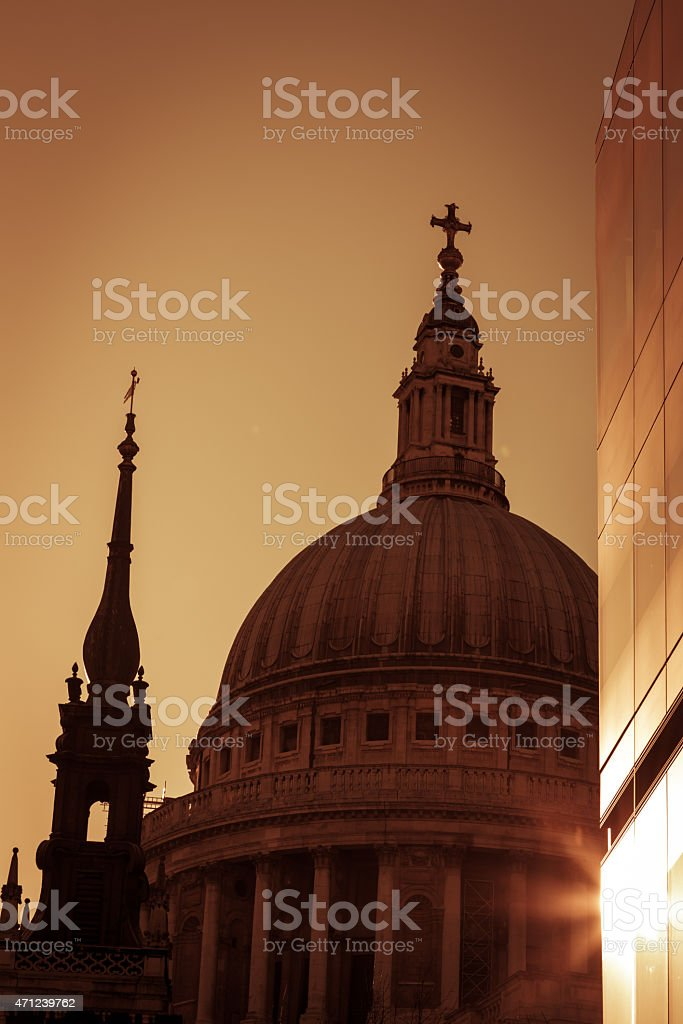 Dome of St Pauls Cathedral in London at sunset stock photo