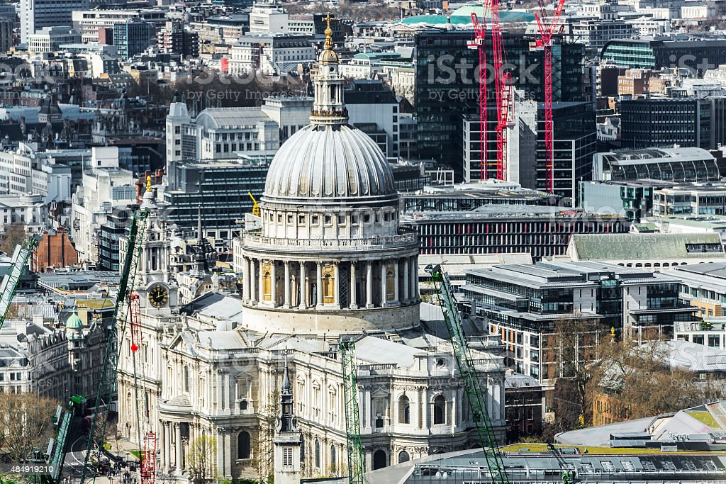 Dome of St. Paul's Cathedral in London. stock photo