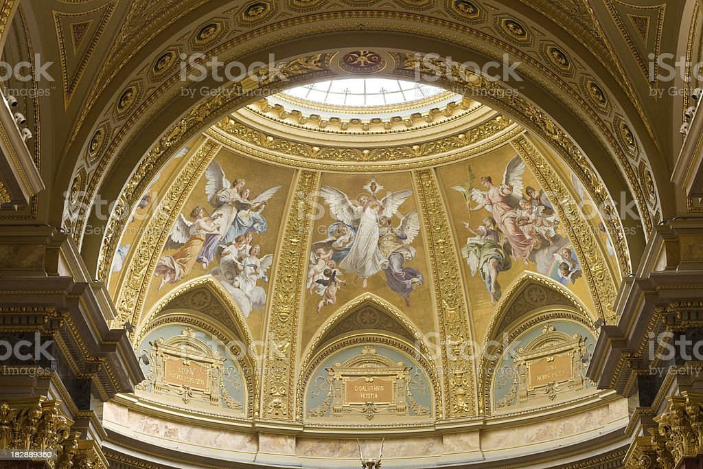 Dome of St. Stephen Basilica in Budapest, Hungary royalty-free stock photo
