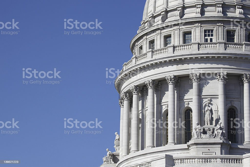 Dome of State Capitol Building with Blue Sky stock photo