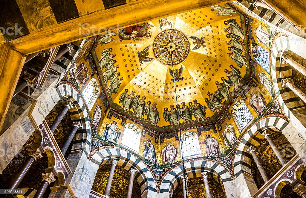 dome of the Aachen cathedral stock photo