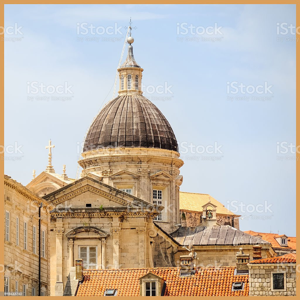 Dome of the Cathedral in Dubrovnik stock photo