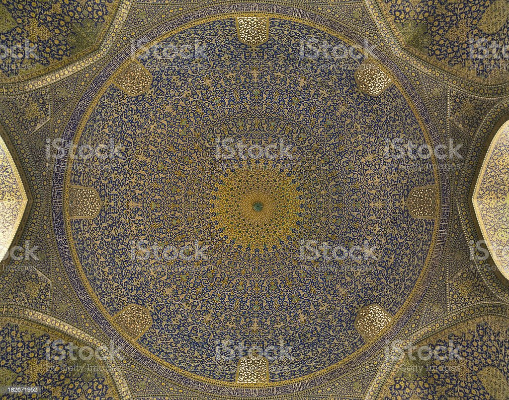 Dome of the Masjid-I Imam or Shah Mosque royalty-free stock photo
