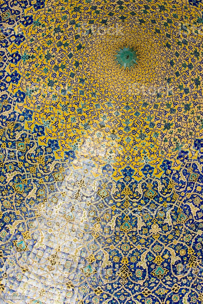 Dome of the mosque, oriental ornaments from Isfahan, Iran royalty-free stock photo