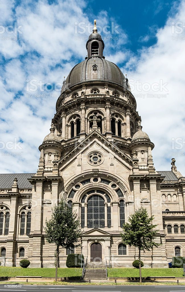 Dome of The Old Historic Christuskirche Church in Mainz stock photo