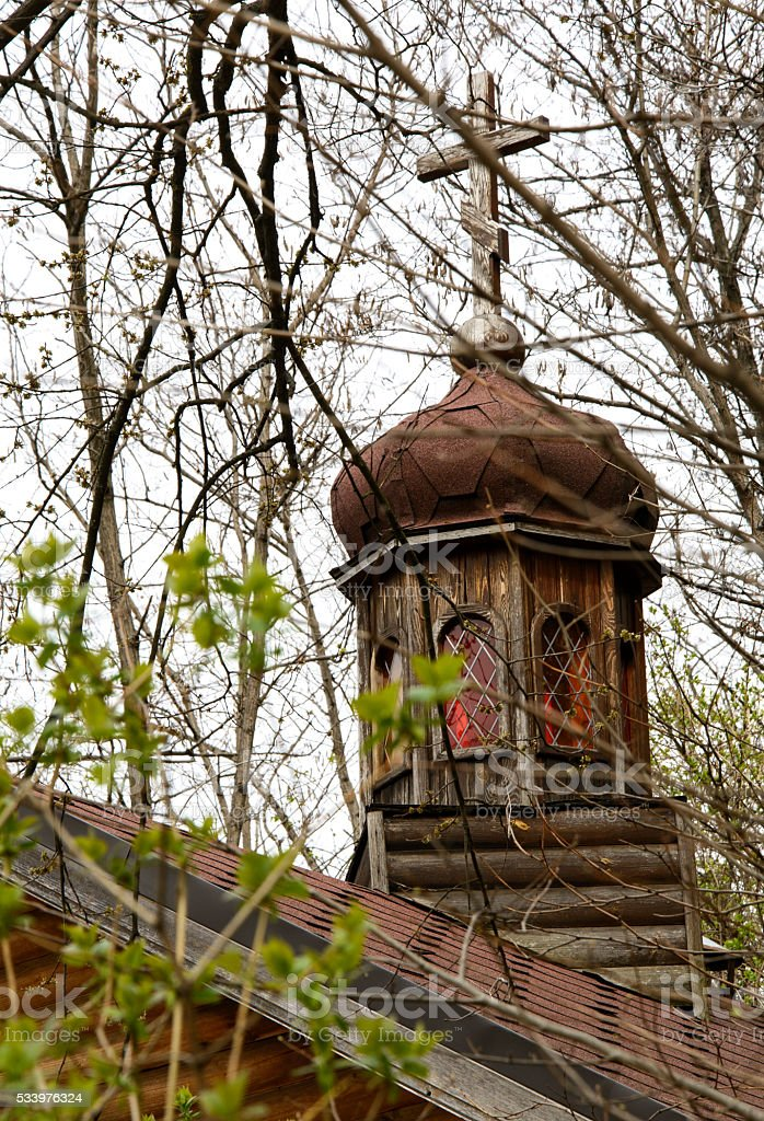 Dome of the old wooden church stock photo