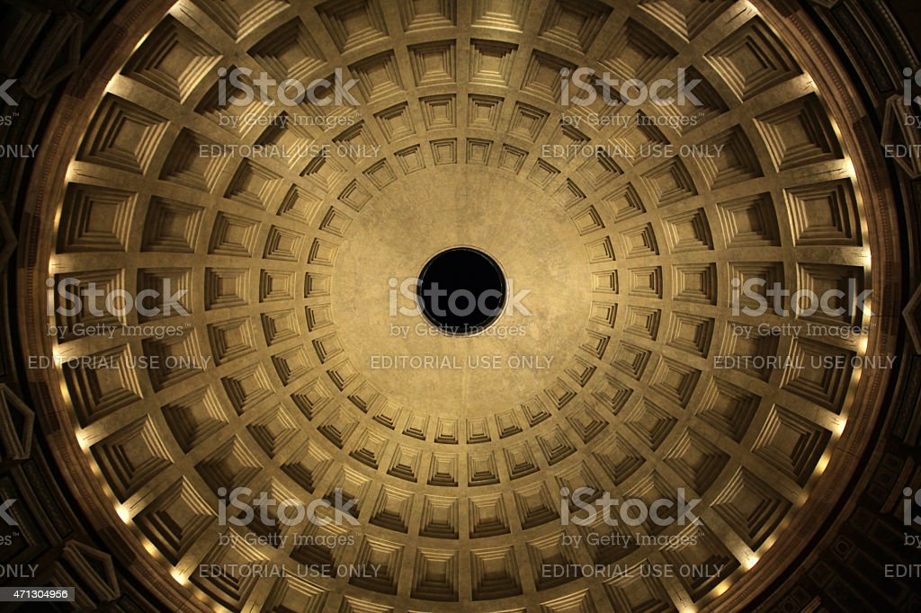 Dome of the Pantheon Temple in Rome, Italy. stock photo