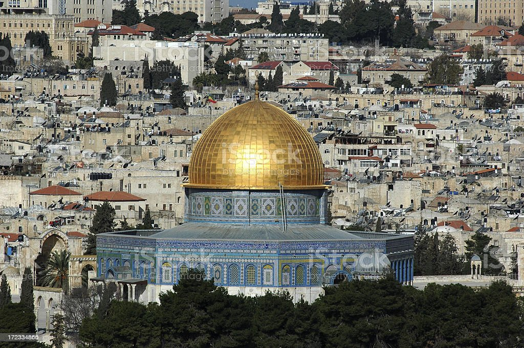 Dome of the Rock against Old Jerusalem royalty-free stock photo