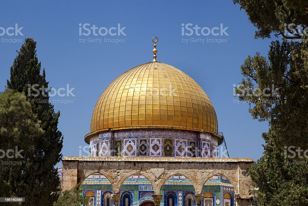 Dome of the Rock Among Trees royalty-free stock photo