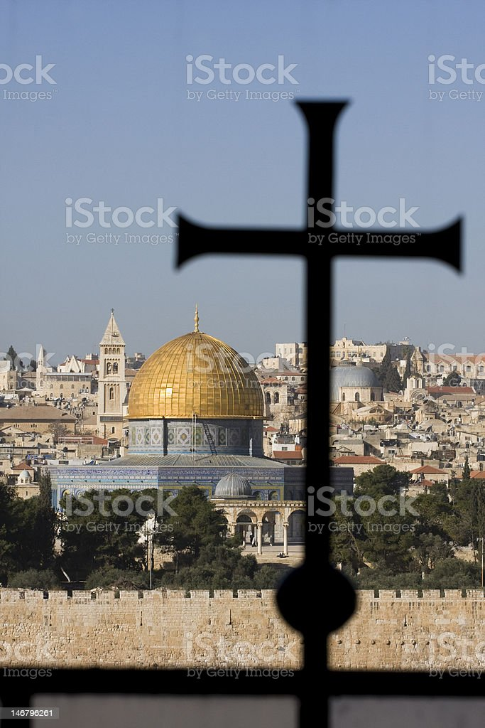 Dome of the Rock and a cross royalty-free stock photo