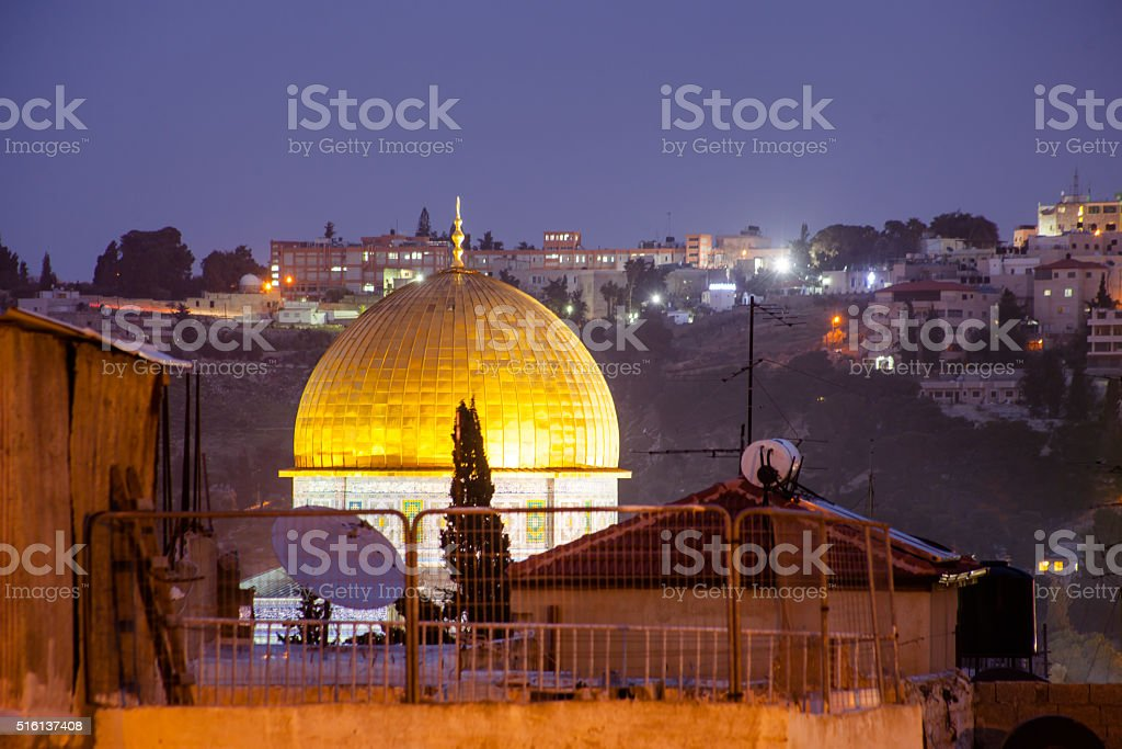 Dome of the Rock and Western Wall in Jerusalem, Israel stock photo