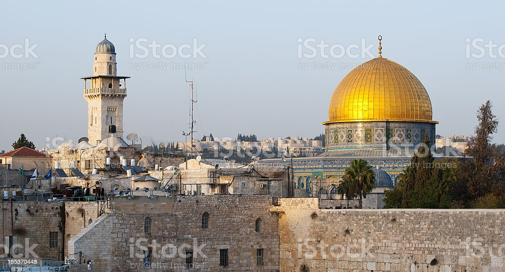 Dome of the Rock and Western Wall stock photo