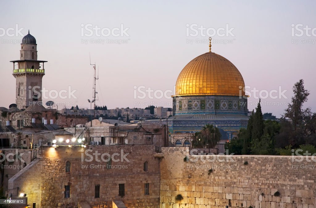 Dome of the Rock At Dusk, Jerusalem stock photo
