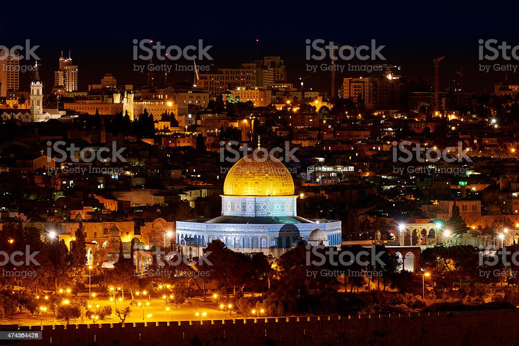 Dome of the Rock in Jerusalem at night stock photo