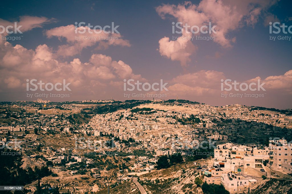 Dome of the Rock in Jerusalem Old City panoramic view stock photo